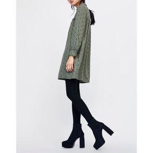 ZARA | Swiss Dot Short Dress with Ruffle Details